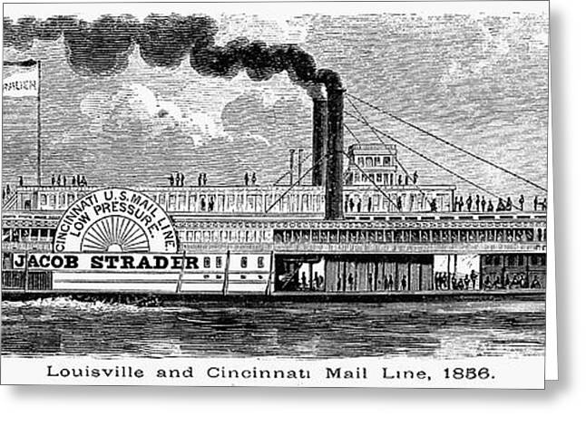 Steamboat Greeting Cards - Mail Steamboat, 1856 Greeting Card by Granger