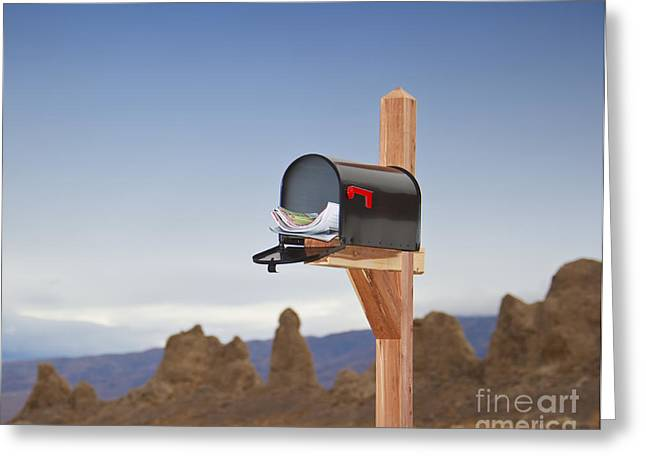 Us Postal Service Greeting Cards - Mailbox in Desert Greeting Card by David Buffington