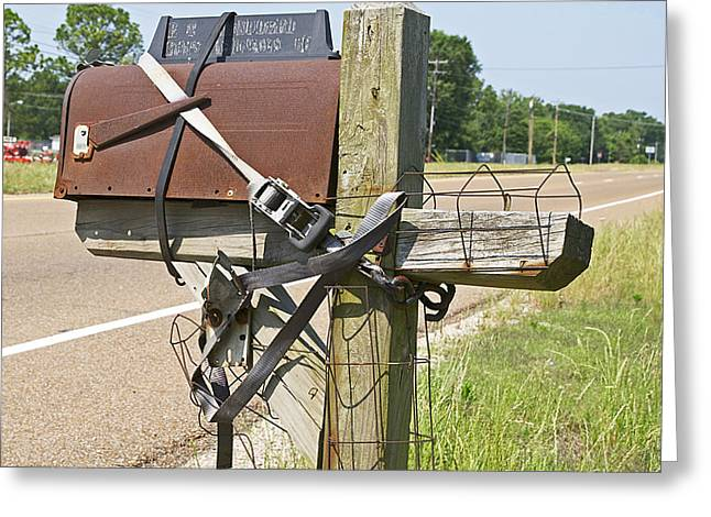 Straps Greeting Cards - Mailbox Security Greeting Card by Cheri Randolph