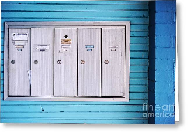Silver Turquoise Greeting Cards - Mailboxes Greeting Card by HD Connelly