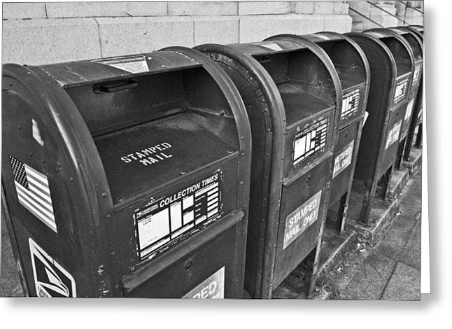 Postal Greeting Cards - Mailboxes Greeting Card by Patrick M Lynch