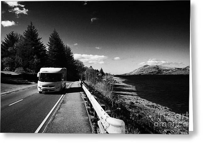 Low Road Greeting Cards - Main A82 Tourist Route Road Along The Shores Of Loch Linnhe Near Fort William Highland Highlands Sco Greeting Card by Joe Fox