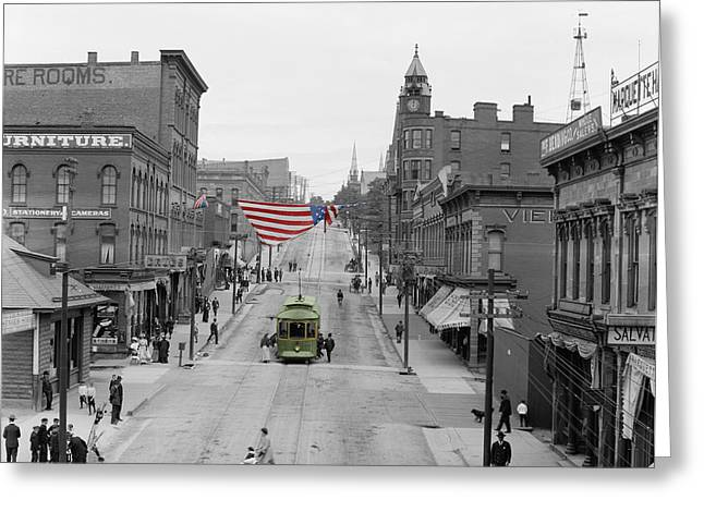 Main Street Greeting Cards - Main Street America Greeting Card by Andrew Fare