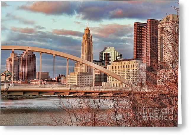 Main Street Greeting Cards - Main Street Bridge Downtown Columbus at Sunset Greeting Card by Jack Schultz