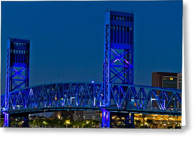 Jacksonville Greeting Cards - Main Street Bridge Jacksonville Greeting Card by Debra and Dave Vanderlaan