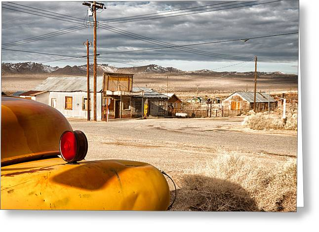 Service Station Greeting Cards - Main Street in Darwin CA Greeting Card by Troy Montemayor