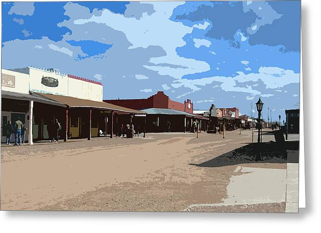 Main Street Mixed Media Greeting Cards - Main Street in Tombstone Greeting Card by AZ Group