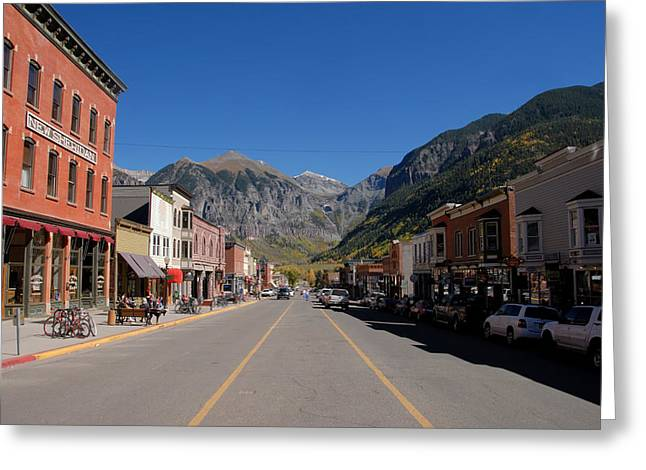 Small Town Scene Greeting Cards - Main Street Telluride Greeting Card by David Lee Thompson