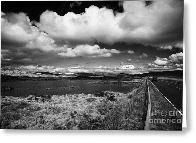 Lochan Greeting Cards - main tourist and travel road past lochan na h-Achlaise through Lochaber highland scotland uk Greeting Card by Joe Fox