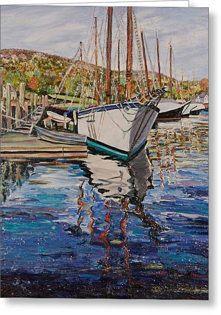 Maine Shore Paintings Greeting Cards - Maine Coast Boat Reflections Greeting Card by Richard Nowak