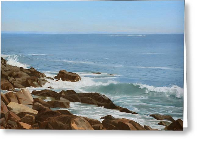 Maine Beach Greeting Cards - Maine Coast Greeting Card by Linda Tenukas