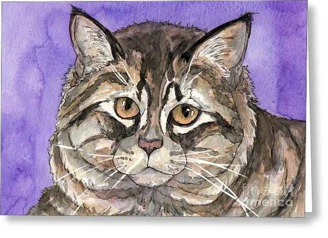 Cat Prints Greeting Cards - Maine Coon Cat Greeting Card by Cherilynn Wood