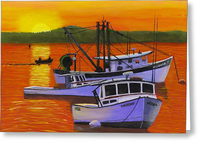 Maine Shore Greeting Cards - Maine Fishing Boats at Sunset Port Clyde Painting Greeting Card by Keith Webber Jr