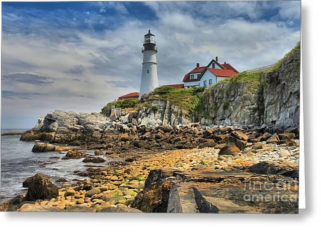 Portland Lighthouse Greeting Cards - Maine Head Light Greeting Card by Adam Jewell