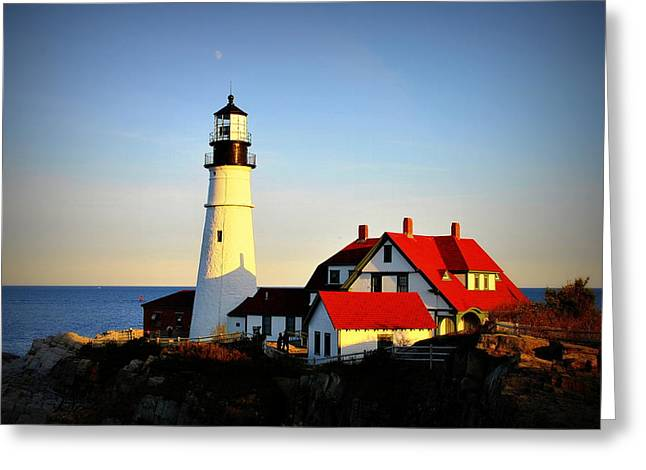 Maine Lighthouses Pyrography Greeting Cards - Maine Lighthouse Greeting Card by Meike Solomon