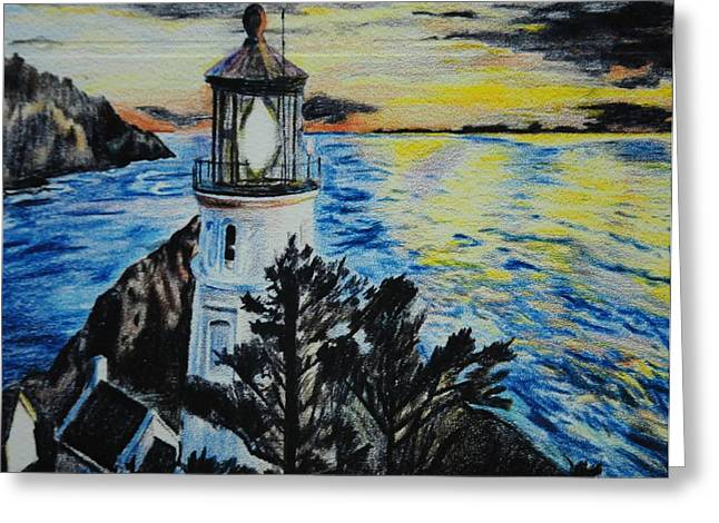 Maine Lighthouses Mixed Media Greeting Cards - Maine Lighthouse Greeting Card by Michelle Hand