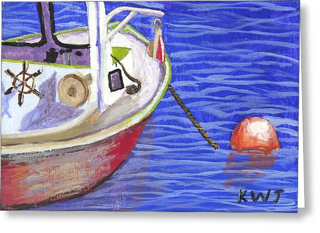 Lobster Boat Greeting Cards - Maine Lobster Boat Painting. Greeting Card by Keith Webber Jr