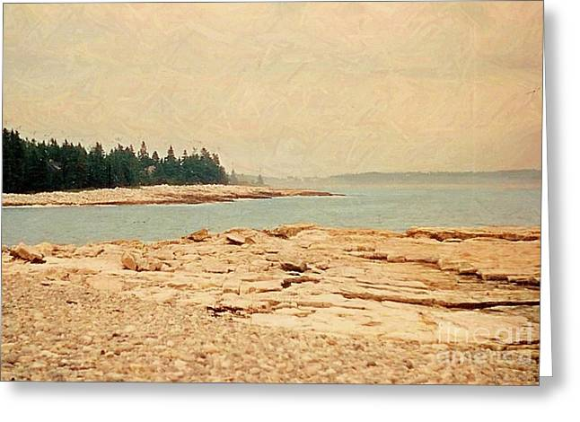 Maine Shore Mixed Media Greeting Cards - Maine Summer Greeting Card by Desiree Paquette