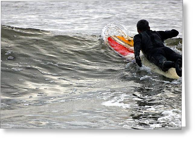 York Beach Greeting Cards - Maine Surfer Greeting Card by Maria Varnalis