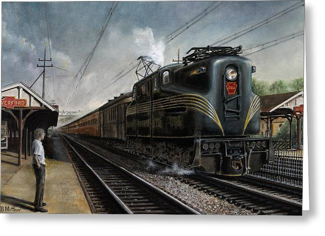 Trains Paintings Greeting Cards - Mainline Memories Greeting Card by David Mittner