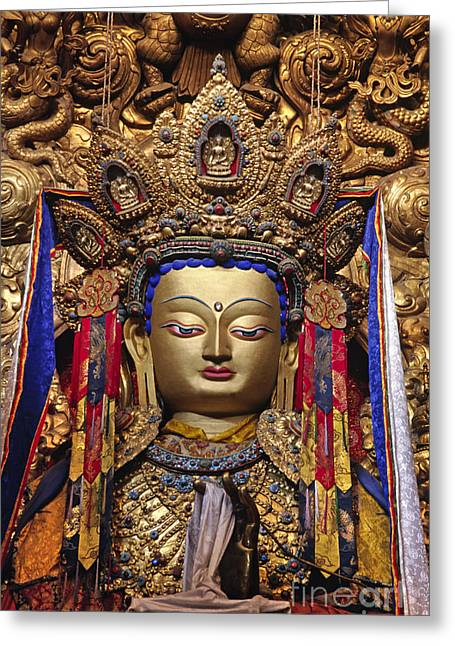 Valuable China Greeting Cards - Maitreya Statue - Jokhang Temple Tibet Greeting Card by Craig Lovell