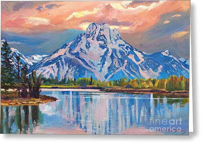 Majestic Blue Mountain Reflections Greeting Card by David Lloyd Glover