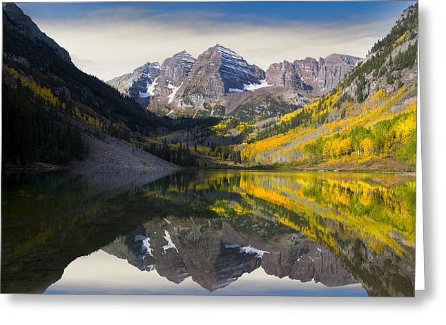 Aspens In Fall Greeting Cards - Majestic Maroon Bells Greeting Card by Tim Reaves