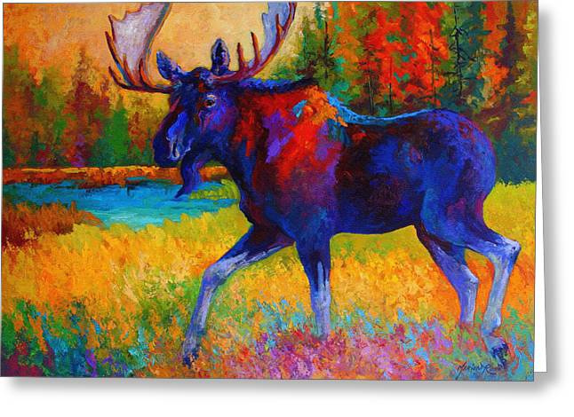 Bulls Greeting Cards - Majestic Monarch - Moose Greeting Card by Marion Rose