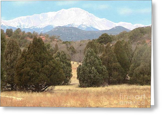 Cristopher Ernest Greeting Cards - Majestic Pikes Peak Greeting Card by Cristophers Dream Artistry