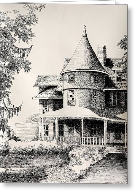 Residential Drawings Greeting Cards - Majestic Place in Kensington Maryland Greeting Card by Toni Tiu
