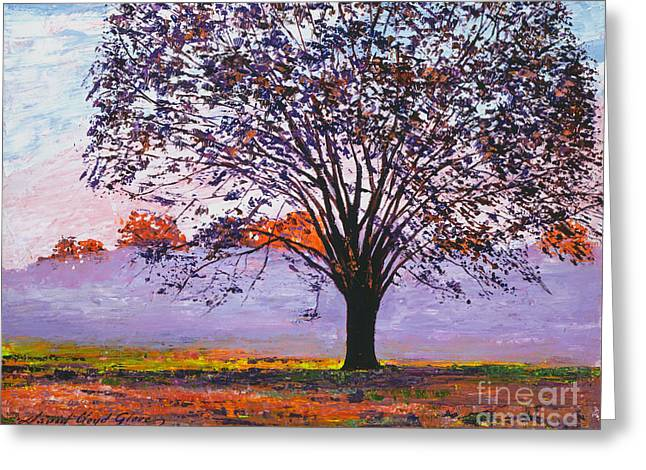 Fallen Leaf Paintings Greeting Cards - Majestic Tree In Morning Mist Greeting Card by David Lloyd Glover