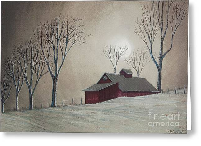 Winter Scenes Rural Scenes Greeting Cards - Majestic Winter Night Greeting Card by Charlotte Blanchard