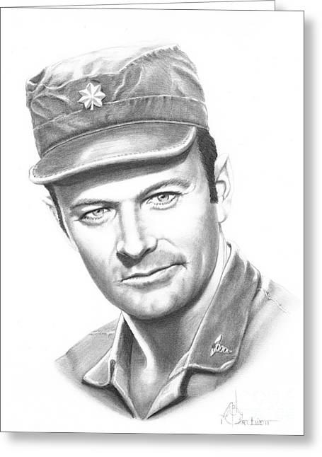Pencil Drawing Greeting Cards - Major Frank Burns Greeting Card by Murphy Elliott