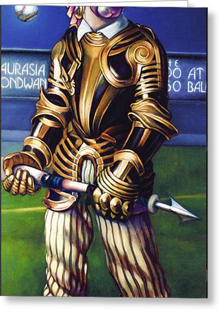 Baseball Bat Greeting Cards - Major League Gladiator Greeting Card by Patrick Anthony Pierson