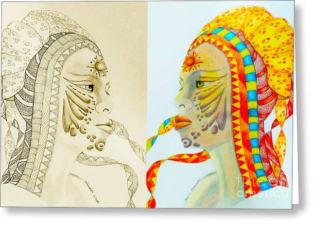 Face Tattoo Mixed Media Greeting Cards - Makanalani Prophet and Seer diptych Greeting Card by Rosy Hall