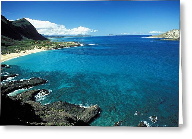 Reef Photos Greeting Cards - Makapuu Beach Park Greeting Card by Peter French - Printscapes