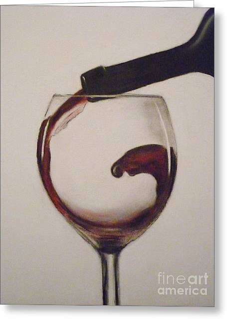 Glass Pastels Greeting Cards - Make Mine a Red Wine Greeting Card by Paul Horton