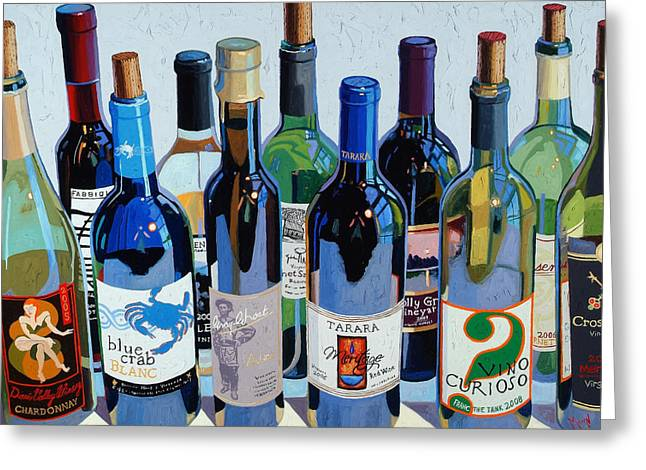 Red Wine Paintings Greeting Cards - Make Mine Virginia Wine Number Three Greeting Card by Christopher Mize
