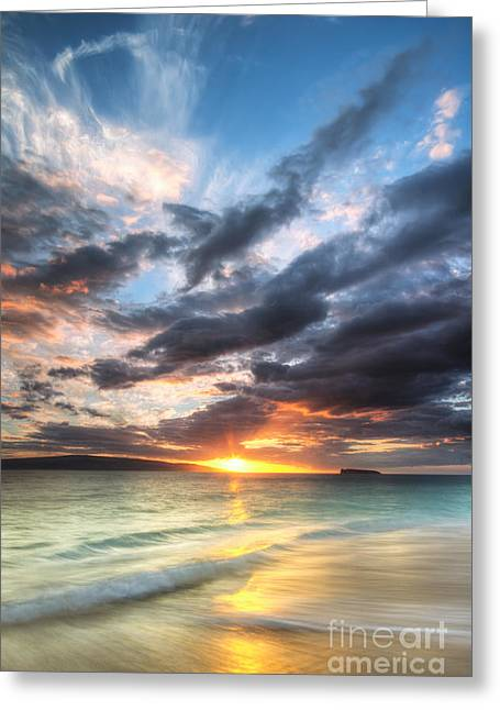 Makena Greeting Cards - Makena Beach Maui Hawaii Sunset Greeting Card by Dustin K Ryan