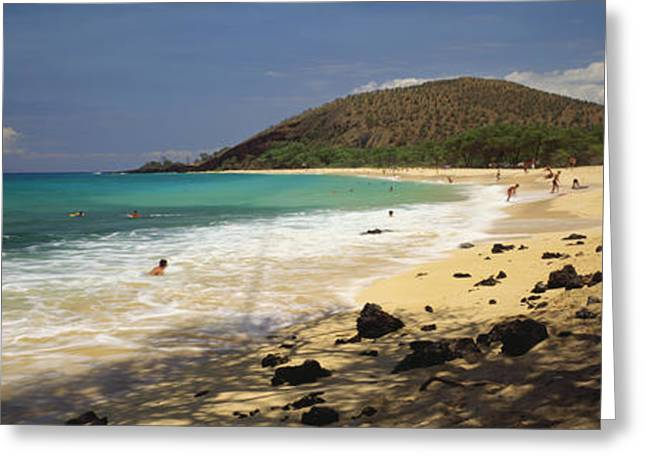 Surfing Art Greeting Cards - Makena Beach Panorama Greeting Card by Carl Shaneff - Printscapes