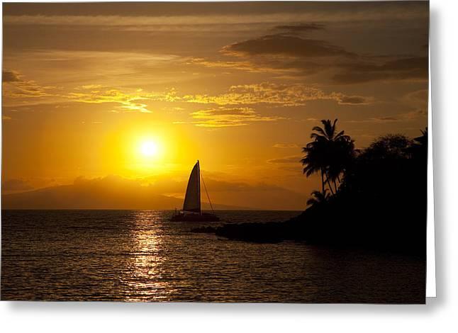Amazing Sunset Greeting Cards - Makena Sunset Sailboat Greeting Card by Jenna Szerlag