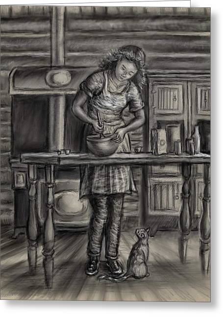 Cabin Interiors Drawings Greeting Cards - Making Bread in the Cabin Greeting Card by Dawn Senior-Trask