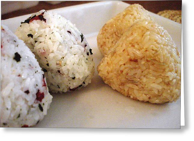 Ethnic Food Greeting Cards - Making Onigiri for lunch Greeting Card by Hiroko Sakai