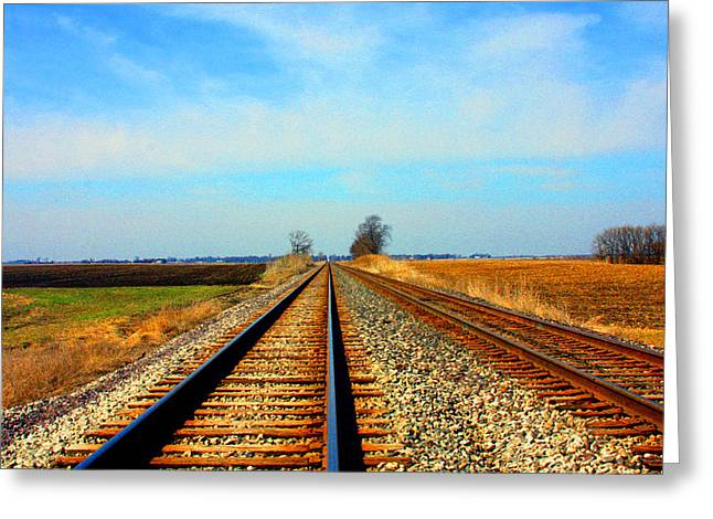 Railroads Framed Prints Greeting Cards - Making Tracks Greeting Card by Marie Jamieson