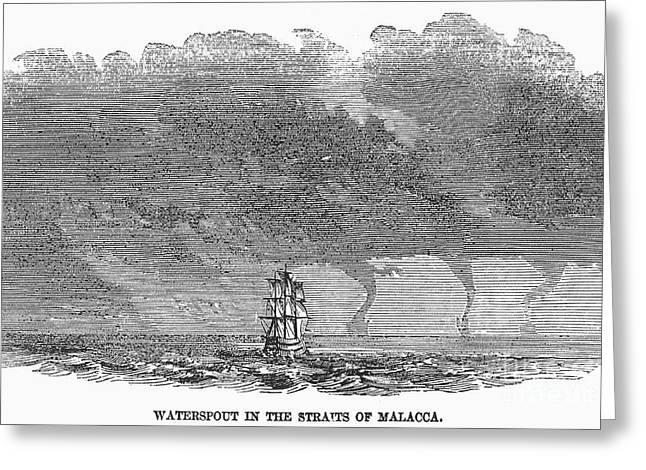 Straits Of Malacca Greeting Cards - Malacca: Waterspouts Greeting Card by Granger
