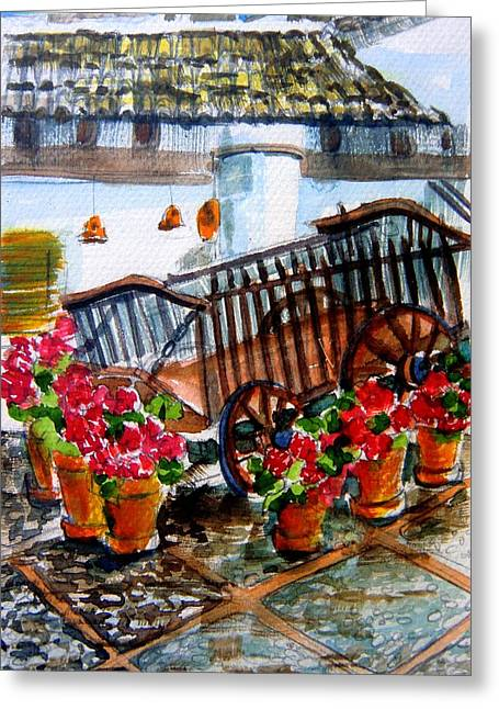 Wagon Drawings Greeting Cards - Malaga Spain Flower Cart Greeting Card by Mindy Newman