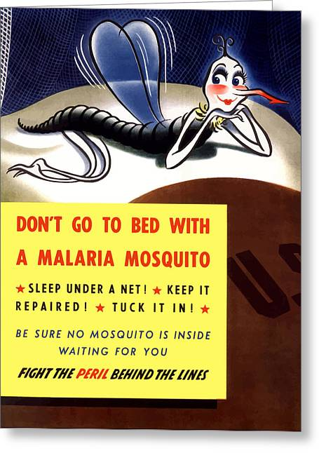 Political Art Greeting Cards - Malaria Mosquito Greeting Card by War Is Hell Store