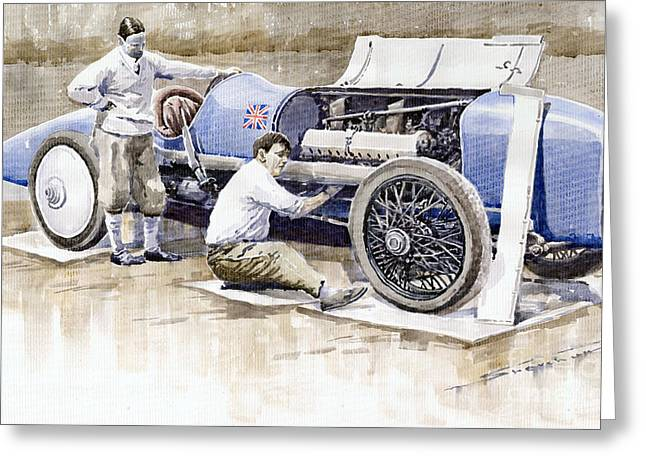 1924 Greeting Cards - Malcolm Campbell Sunbeam Bluebird 1924 Greeting Card by Yuriy  Shevchuk
