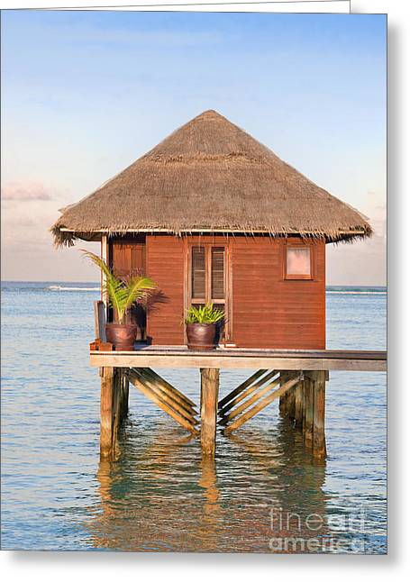 Maldives Greeting Cards - Maldives villa Greeting Card by Jane Rix