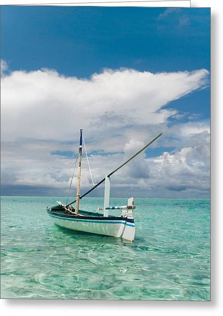 Maldivian Greeting Cards - Maldivian Boat Dhoni on the Peaceful Water of the Blue Lagoon Greeting Card by Jenny Rainbow